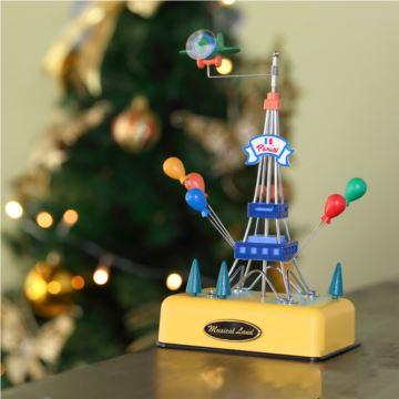 台湾进口埃菲尔铁塔旋转飞机八音盒音乐盒创意生日情人节礼物送男女生