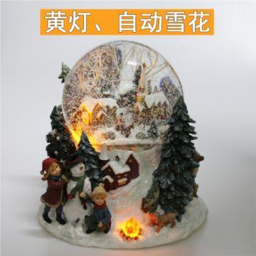 自动飘雪花七彩灯圣诞水晶球八音盒音乐盒圣诞节生日创意礼物浪漫特别