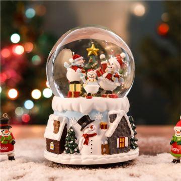 自动飘雪花声控发光旋转圣诞水晶球八音盒音乐盒创意生日圣诞节礼物