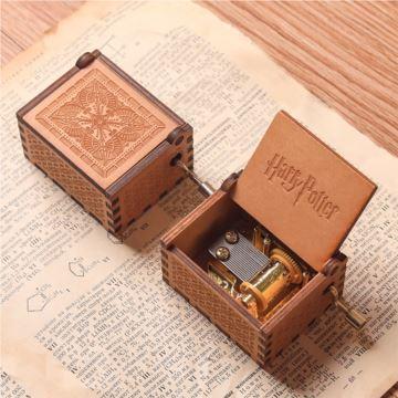 DIY刻字手摇木质迷你八音盒音乐盒创意生日圣诞节礼物送男生女生