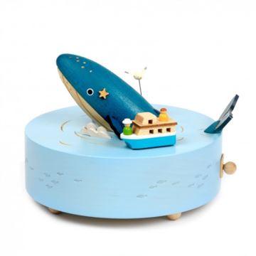 Jeancard木质抹香鲸音乐盒大海鲸鱼八音盒七夕情人儿童女生日圣诞礼物