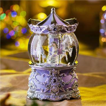 Jarll旋转飘亮片带灯水晶球八音盒音乐盒创意生日情人节圣诞节礼物浪漫