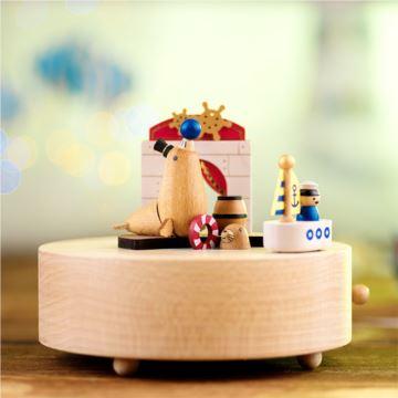 刻字Jeancard木质旋转海豹欢乐舞台八音盒音乐盒创意生日圣诞节礼物