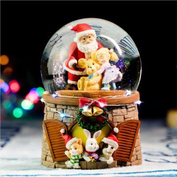 Jarll自喷雪花带灯旋转圣诞熊水晶球八音盒音乐盒创意生日圣诞节礼物限量版