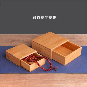 DIY刻字刻图高档木质项链珠宝首饰盒收纳盒复古简约正方形迷你送男女生