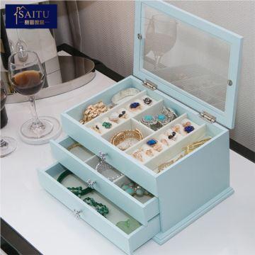 木质首饰盒珠宝盒收纳盒大容量公主欧式奢华创意生日情人节礼物送女生老婆