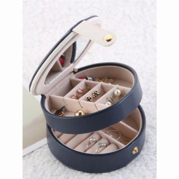 小号PU皮便携式多层首饰盒而定耳环首饰品收纳盒韩国公主风送老婆女生