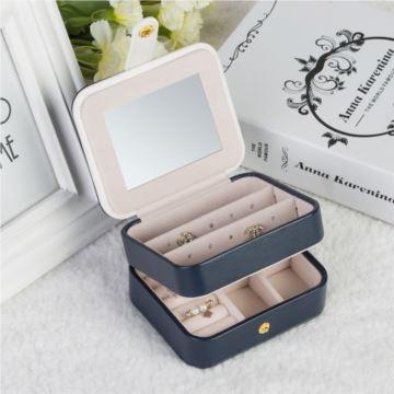 大容量三层PU皮便携式首饰盒戒指项链收纳盒多功能创意生日情人节礼物