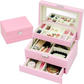 木质复古中国风首饰盒化妆品收纳盒生日情人节圣诞节礼物送老婆女生浪漫粉