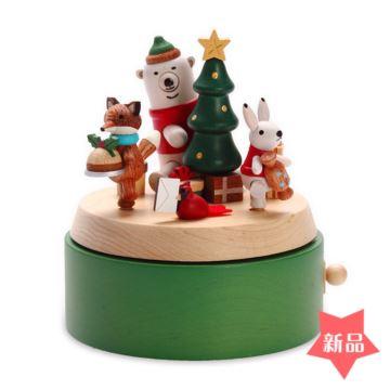 Jeancard木质冬日礼物圣诞树旋转八音盒音乐盒儿童生日元旦新年礼物创意