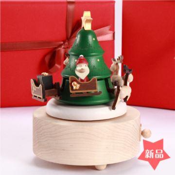 Jeancard木质旋转圣诞老人麋鹿八音盒音乐盒创意生日圣诞节元旦新年礼物