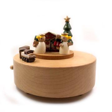 台湾jeancard木质天使圣诞树旋转八音盒音乐盒生日情人节新年礼物送男女