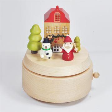 台湾Jeancard木质旋转雪人八音盒音乐盒情人节圣诞节新年礼物送男女生