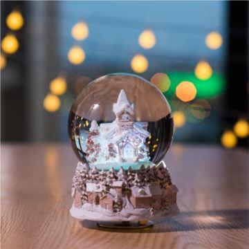 飘雪花雪屋旋转水晶球八音盒音乐盒创意生日元旦新年礼物送孩子男女生