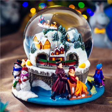 Jarl旋转山洞火车圣诞老人水晶球八音盒音乐盒情人节新年礼物送男女生