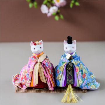 日本陶瓷和服猫咪旋转八音盒音乐盒创意生日新年礼物送男女生特别