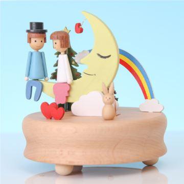 木质旋转八音盒音乐盒创意生日结婚情人节礼物送男女朋友浪漫