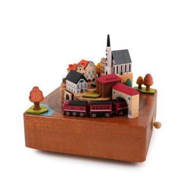Jeancard木质旋转秋季列车八音盒音乐盒创意生日情人节礼物送男女生