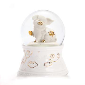 Jarll旋转自喷亮片雪花旋转水晶球猪宝宝八音盒音乐盒创意生日礼物