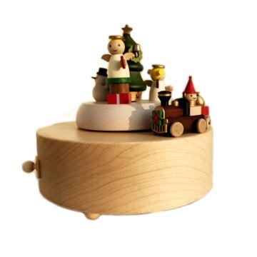 Jeancard台湾枫木木质旋转天使圣诞八音盒音乐盒创意生日新年礼物送男女