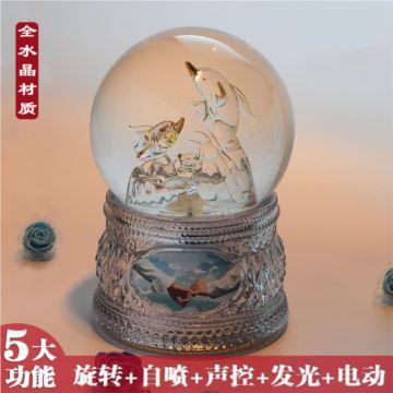 发光海豚水晶球八音盒音乐盒女生生日礼物创意情人节礼品儿童定制