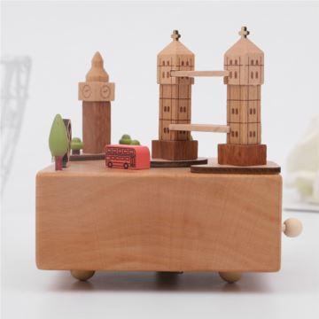 木质双子塔八十八音盒音乐盒天空之城创意生日毕业礼物送男女生刻字定制