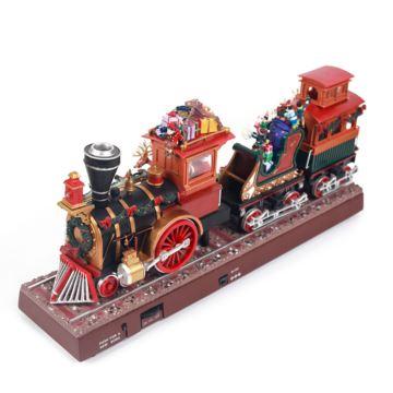 动感火车蒸汽发光圣诞老人电子八音盒音乐盒创意生日圣诞礼物送男女生