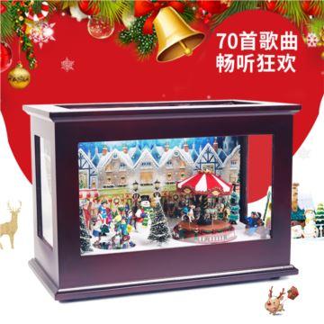 Christmas旋转木马发光电子八音盒音乐盒创意生日圣诞礼物送女生儿童