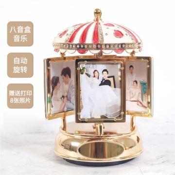 DIY定制旋转相框照片八音盒音乐盒创意生日情人节礼物送男女生浪漫