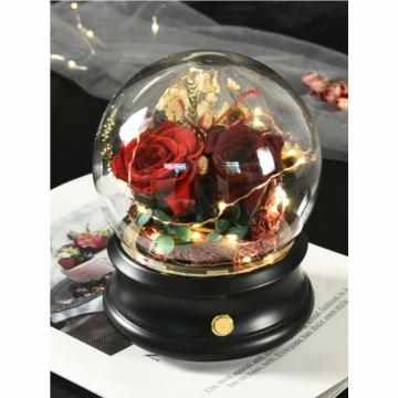 永生花玫瑰花玻璃八音盒音乐盒创意生日结婚礼物送老婆送男女生浪漫