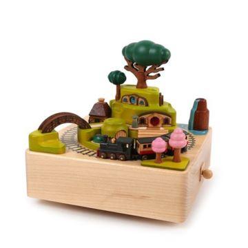 Jeancard木质台湾八音盒春季火车音乐盒送女生个性创意礼物生日