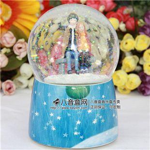 正品几米 自动雪花水晶球八音盒音乐盒创意礼品生日礼物天空之城 坐姿