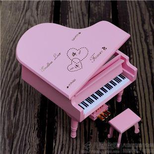 三角钢琴音乐盒木制八音盒 天空之城卡农 女生日情人节礼物摆设