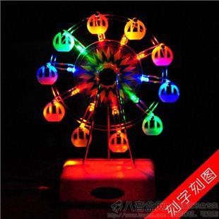 进口发光灯光旋转摩天轮八音盒音乐盒天空之城创意送女生日特别礼物精
