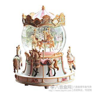 台湾万山大号旋转木马水晶球音乐盒八音盒创意送女生日圣诞特别礼物精