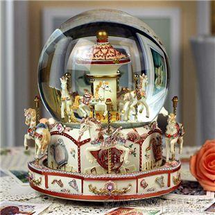 台湾万山大号旋转木马水晶球音乐盒八音盒天空之城创意生日圣诞礼物精