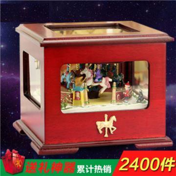 进口木质发光旋转木马音乐盒八音盒创意送女生日圣诞特别礼物精品实用