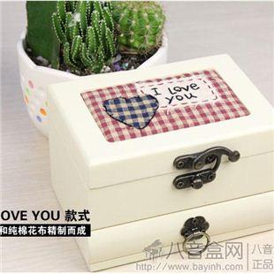 日本进口原装18音原木布艺首饰八音盒音乐盒进口Sankyo机芯 送女友生日礼物