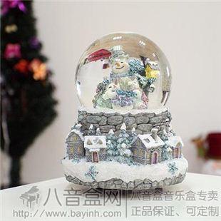 万山WSA圣诞八音盒音乐盒 雪人跳舞内转水晶球 圣诞礼物