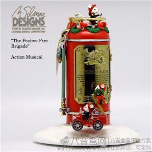 美国ENESCO收藏级古董八音盒音乐盒旋转小老鼠消防车创意生日圣诞礼物精品