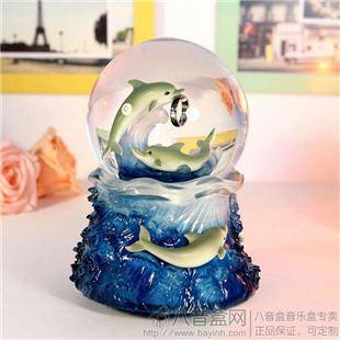日本进口Sankyo18音树脂双海豚旋转雪花发光水晶球八音盒音乐盒 天空之城 送女友生日礼物情人节