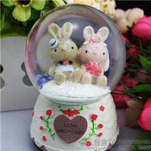 日本进口Sankyo18音树脂旋转雪花砂糖兔水晶球八音盒音乐盒 《致爱丽丝》 送女友情人节生日礼物