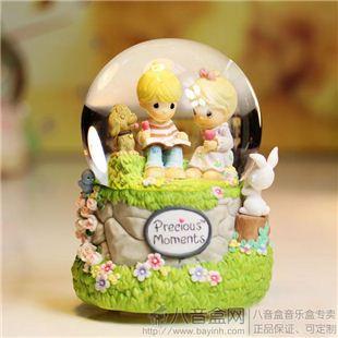 美国水滴娃娃宝贝时光Precious Moments冰淇淋情侣看书水晶球音乐盒八音盒 天空之城 创意情人礼品