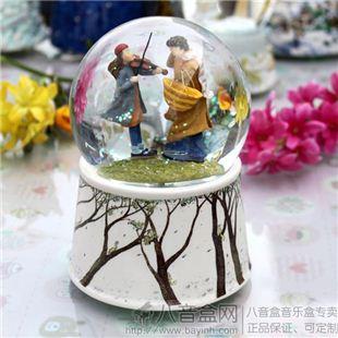 正品台湾几米JIMMY树脂拉小提琴水晶球音乐盒八音盒 创意生日情人节礼物品 摆件