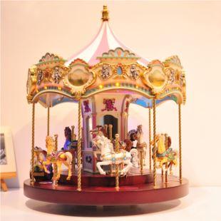 第一次同款进口超大号旋转木马发光八音盒音乐盒创意送女生日礼物12只马