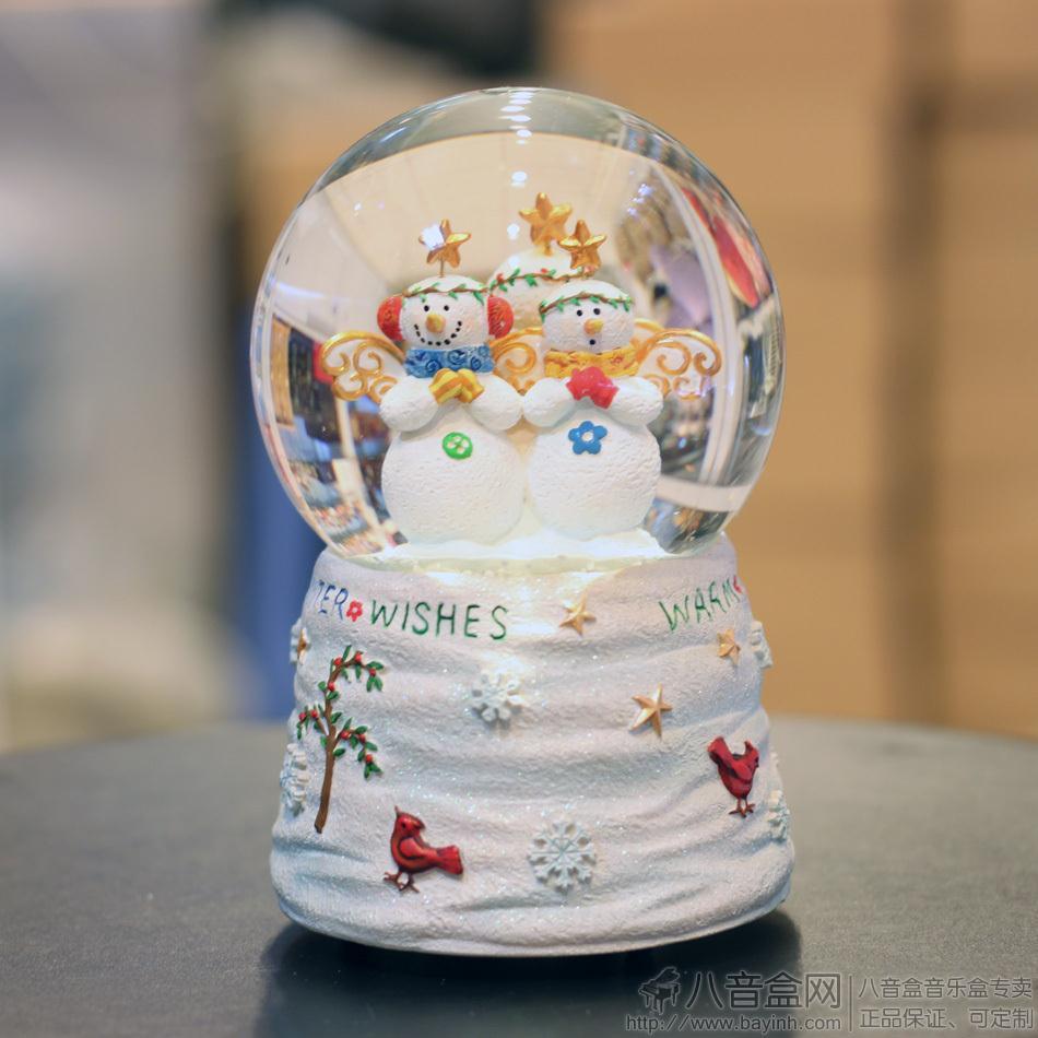 正品台湾万山超可爱三个雪人水晶球八音盒音乐盒 圣诞