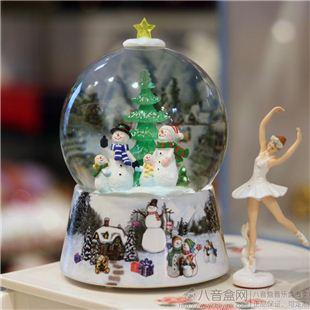 正品台湾万山WSA圣诞雪人水晶球八音盒音乐盒 圣诞节出创意礼品