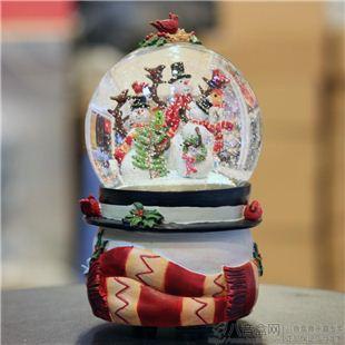 正品万山WSA内景旋转雪人水晶球八音盒音乐 圣诞节创意礼品