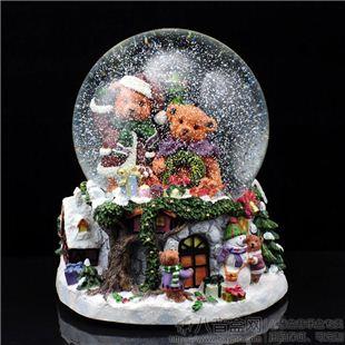 日本Sankyo18音大号熊之家旋转水晶球音乐盒八音盒 创意 雪花 情人节女生日礼物 WSA057