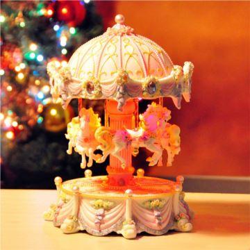 进口万山升降旋转木马音乐盒八音盒创意送女生日圣诞节礼物精品可刻字